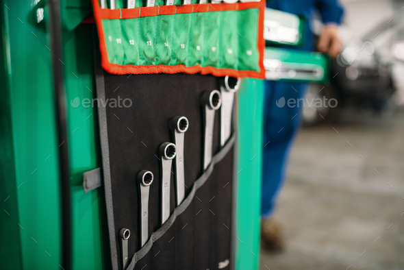 Car service tool box, spanners in the case closeup - Stock Photo - Images