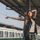 Pretty girl posing in a metro station - PhotoDune Item for Sale