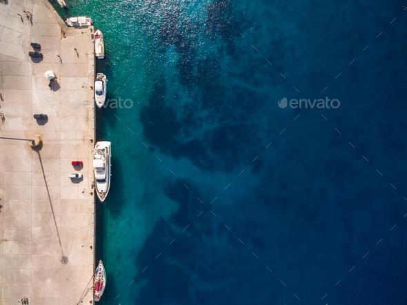 Aerial  view of  Agios Nikolaos city  in Zakynthos (Zante) islan - Stock Photo - Images
