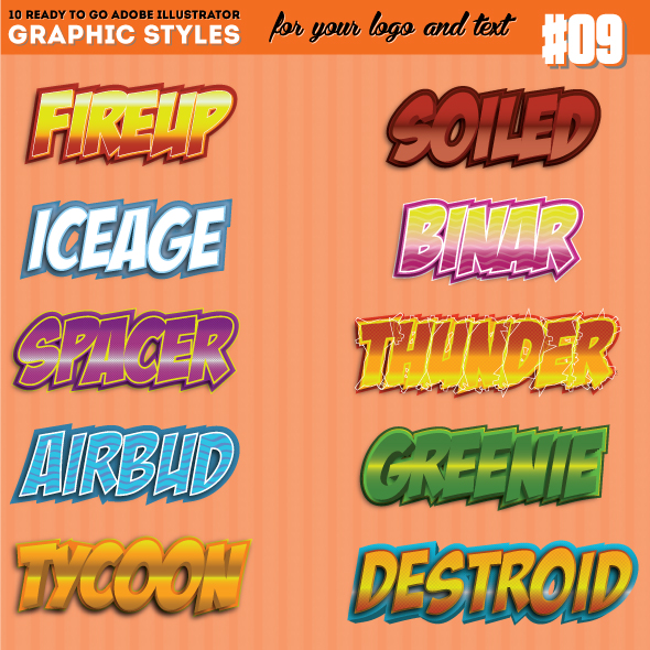 10 3D Game / Comic Title Graphic Style Vol. 01 - Styles Illustrator
