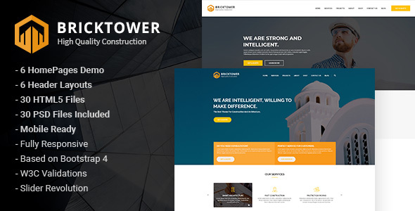 Bricktower - Construction and Building Company HTML5 Template Free Download   Nulled