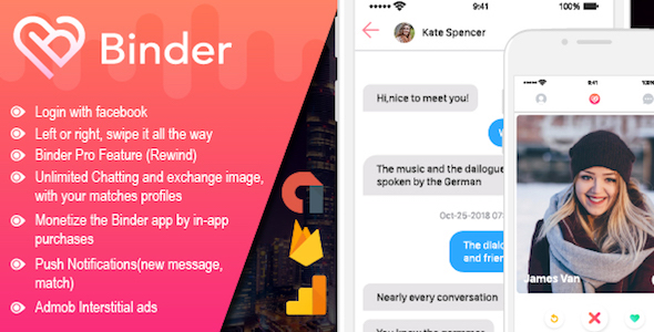 Binder - Tinder Dating clone App with admin panel - CodeCanyon Item for Sale