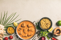 Traditional curry and ingredients on concrete background - PhotoDune Item for Sale