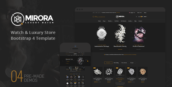 Mirora - Watch and Jewelry Store Bootstrap 4 Template