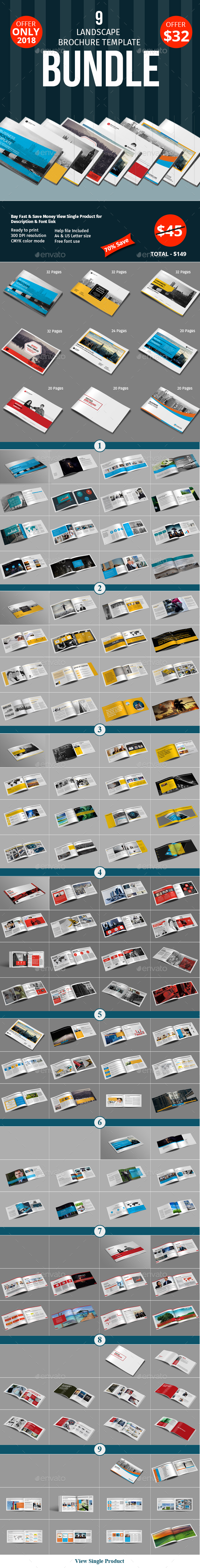 Lanscape Brochure Template Bundle - Corporate Brochures