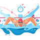 Muscular Swimmer in Competition Swimming Pool - GraphicRiver Item for Sale