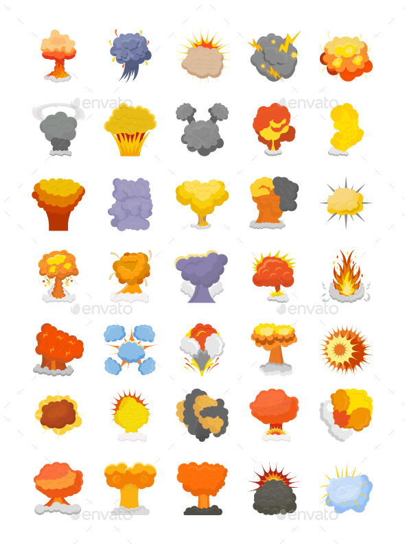 50 Explosion and Fire Vector Icons - Icons