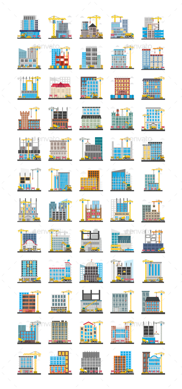 60 Flat Construction Building Icons - Icons