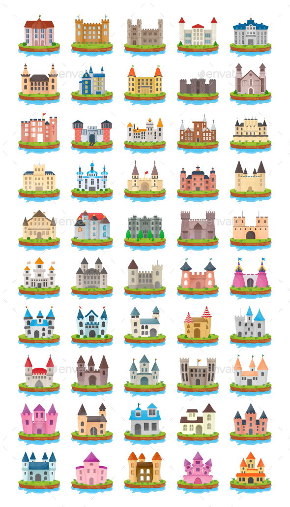 50 Castle Island Flat Vector Icons - Icons