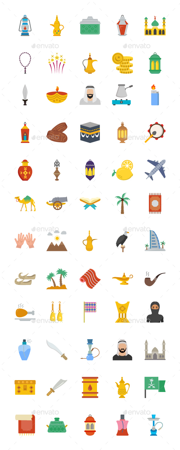 60 Flat Arab Heritage Vector icons - Icons