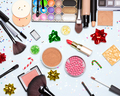 Christmas and New Year party bright glistening makeup flat lay - PhotoDune Item for Sale
