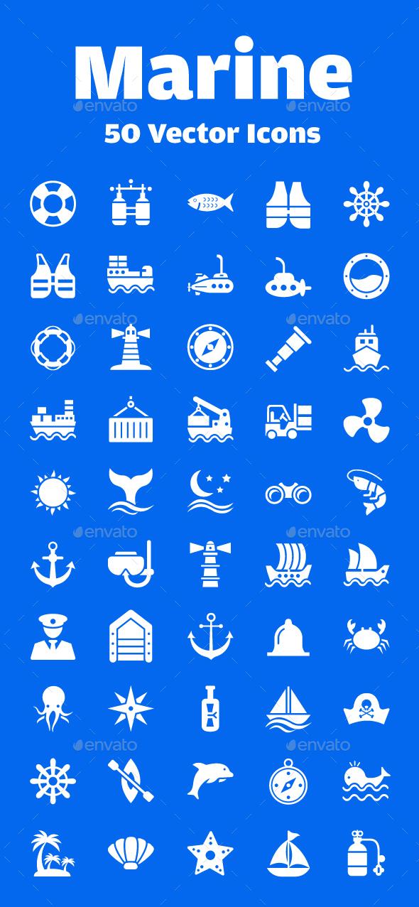 50 Marine Vector Icons - Icons