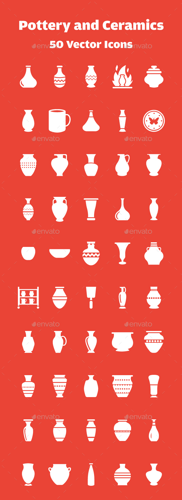 50 Pottery Vector Icons - Icons