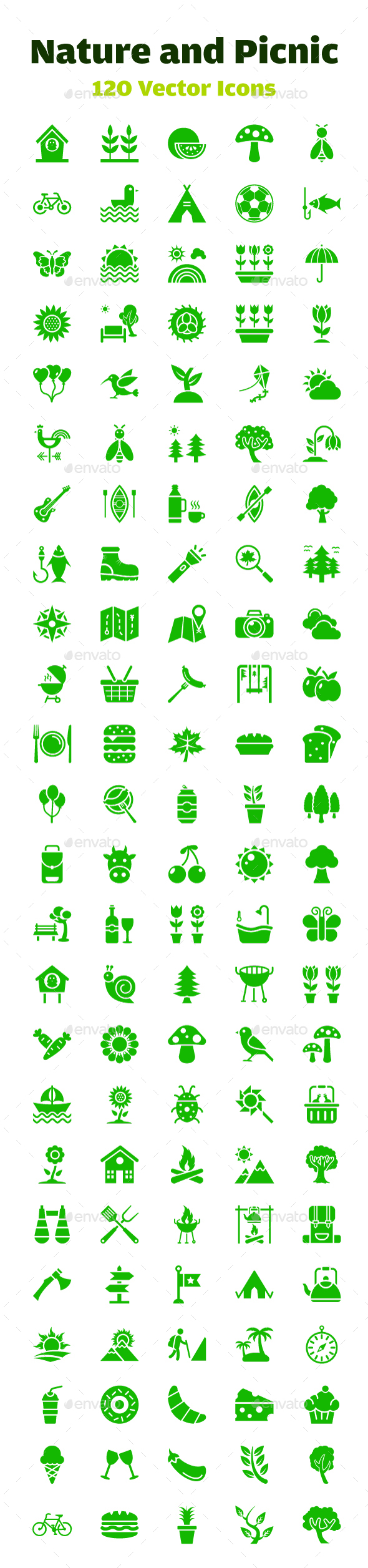 120 Nature and Picnic Vector Icons - Icons