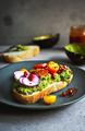 Avocado with Tomato , Pomegranate,Radish on toast - PhotoDune Item for Sale