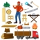 Timber Vector Lumberman Character and Logger Saws - GraphicRiver Item for Sale