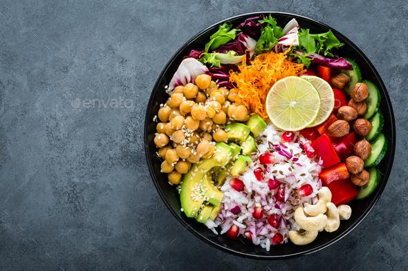 Healthy vegetarian Buddha bowl - Stock Photo - Images