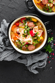 Italian minestrone soup with beef meatballs, vegetables and pasta - PhotoDune Item for Sale