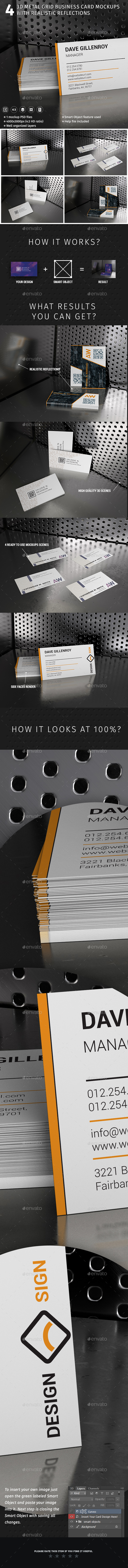 4 3D Metal Grid Scene Mockups With Realistic Reflections - Business Cards Print