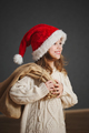 little beautiful girl with red santa hat - PhotoDune Item for Sale