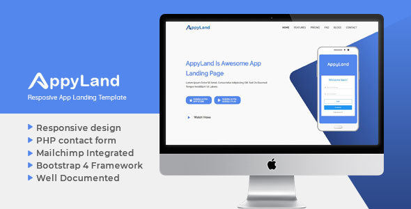 Appyland Responsive App Landing Template Free Download | Nulled