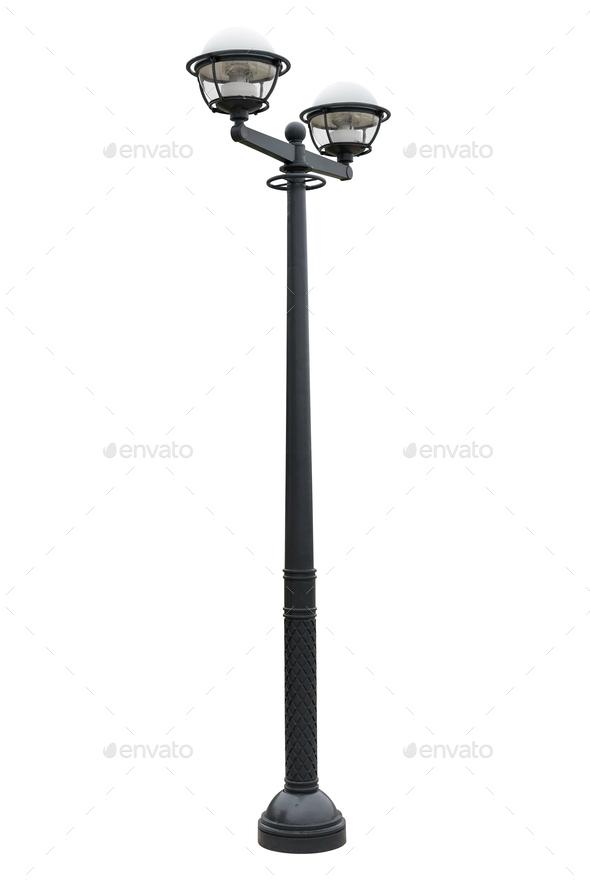 Street lantern isolated on white background - Stock Photo - Images