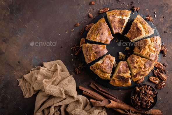 Bundt cake with cinnamon and nuts - Stock Photo - Images
