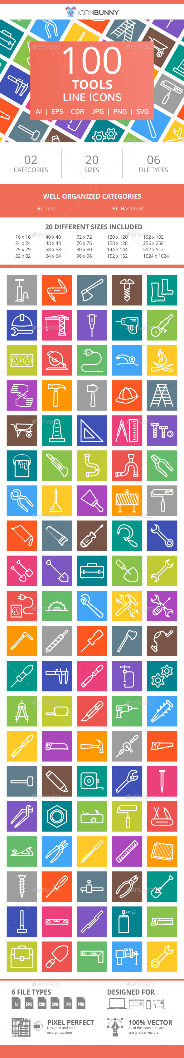 100 Tools Line Multicolor B/G Icons - Icons