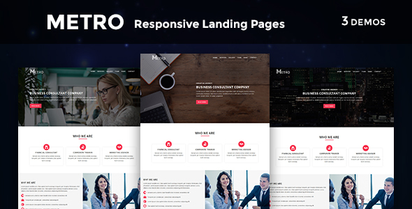 Metro - Multipurpose Responsive HTML Landing Pages by evethemes