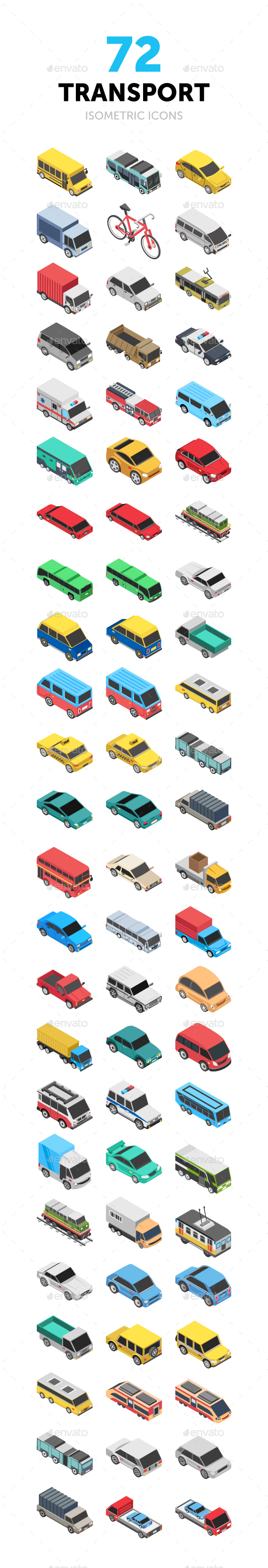 72 Transport Isometric Icons - Icons