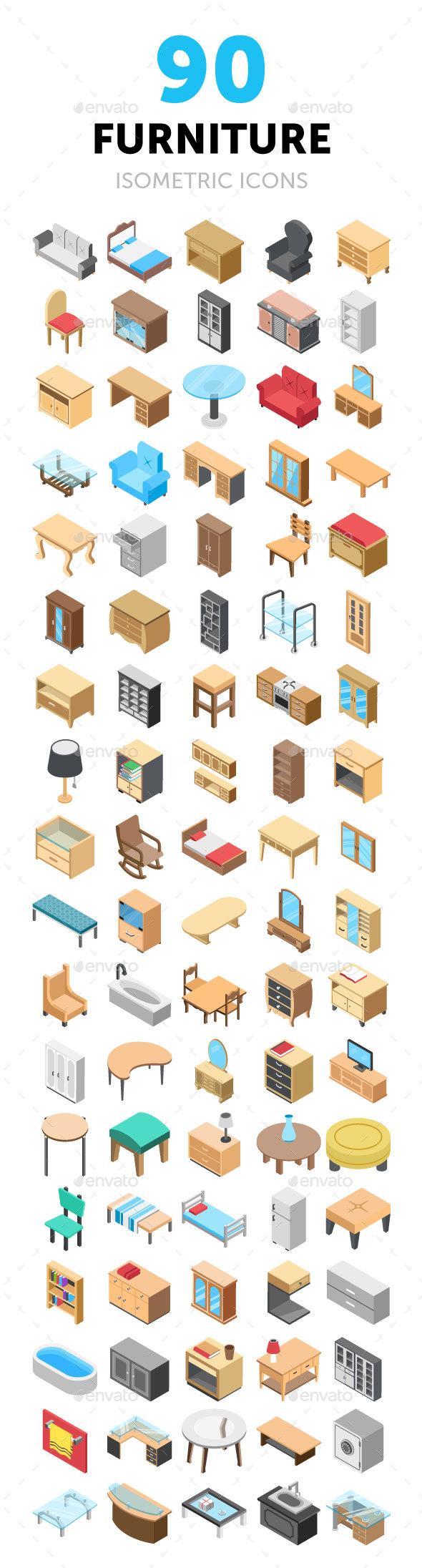 90 Furniture Isometric Icons - Icons