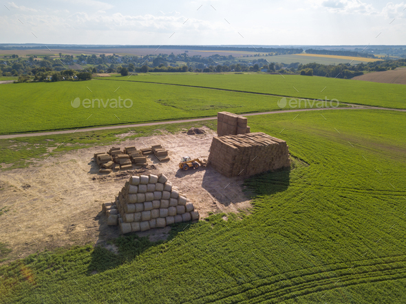 Green field with large haystacks and tractor on a sunny day. Aerial view from the drone - Stock Photo - Images