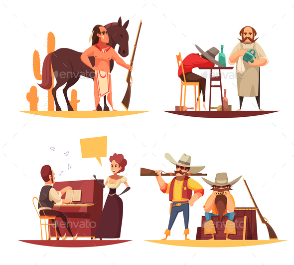 Wild West Design Concept - People Characters
