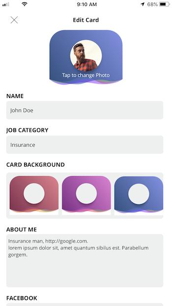 bCards   iOS Virtual Business Cards Application