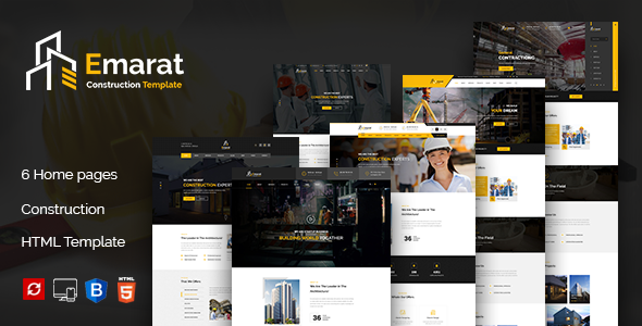 Emarat - Construction and Architecture HTML Template Free Download   Nulled