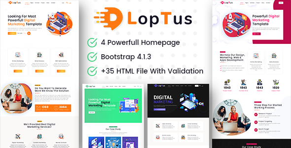 Loptus - Digital Marketing Agency Responsive HTML5 Template Free Download | Nulled