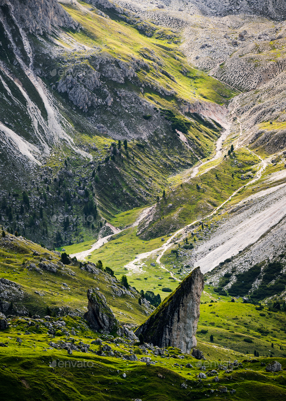 Close up of Seceda mountain in the Dolomites, South Tyrol, Italy - Stock Photo - Images
