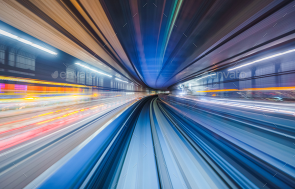 Motion blur of train moving inside tunnel in Tokyo, Japan - Stock Photo - Images