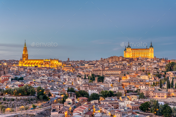 The old city of Toledo in Spain at dusk - Stock Photo - Images