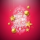 Merry Christmas Illustration with Gold Glass Ball - GraphicRiver Item for Sale