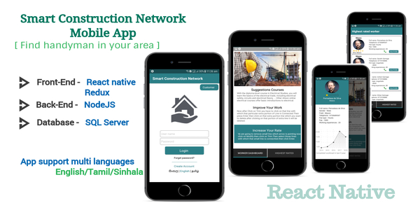 Smart Construction - Find best worker in your city [React native with Backend] - CodeCanyon Item for Sale