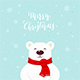 Polar Bear with Red Scarf and Merry Christmas - GraphicRiver Item for Sale