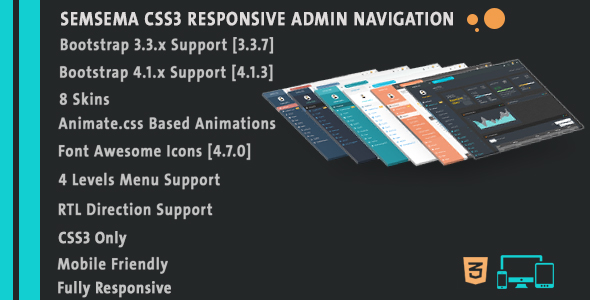 Semsema CSS3 Admin Navigation - CodeCanyon Item for Sale