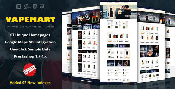 VapeMart - Electronic Cigarettes & Accessories Prestashop 1.7 Theme - Shopping PrestaShop