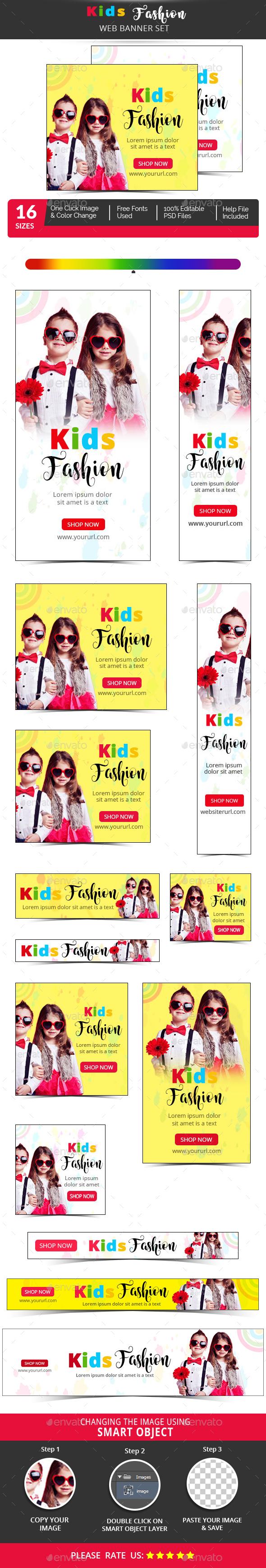 Kids Fashion Banner Set - Banners & Ads Web Elements