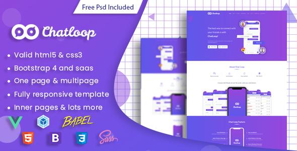 Chatloop - Vue JS App Landing Page Free Download | Nulled
