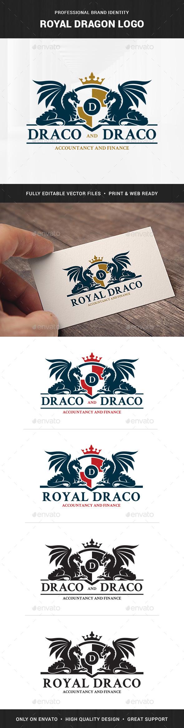 Royal Dragon Logo Template - Crests Logo Templates