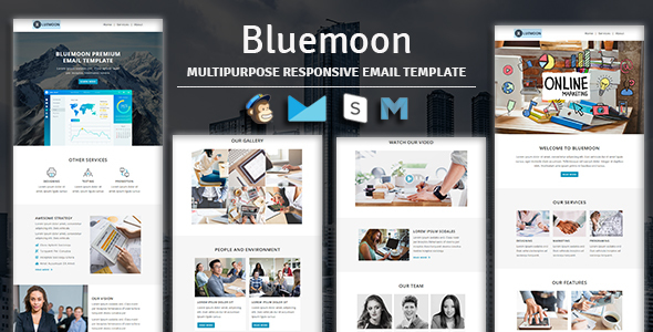 Bluemoon - Multipurpose Responsive Email Template With Stampready Builder & Mailchimp Access