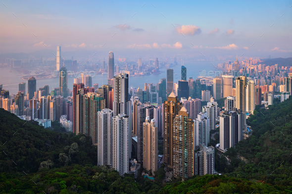Hong Kong skyscrapers skyline cityscape view - Stock Photo - Images