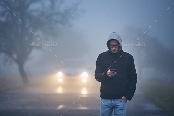 Thick fog on roadside - Stock Photo - Images
